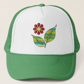 Leaves and flower trucker hat