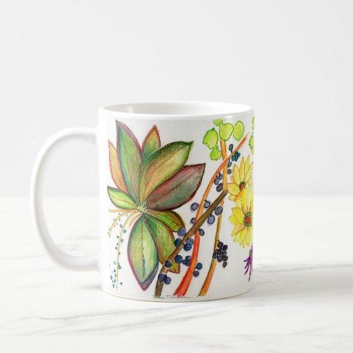 Leaves and Flowers on White 71-09 Coffee Mug