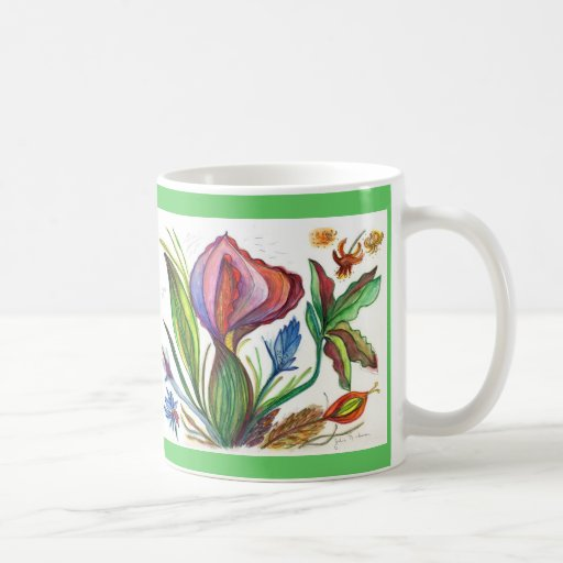 Leaves and Flowers on Yellow 68-09 purple Green Mugs