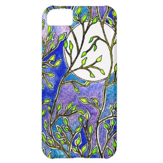 Leaves and Moon - Blue Watercolors iPhone 5C Cover