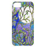 Leaves and Moon - Blue Watercolors iPhone 5C Covers