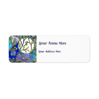 Leaves and Moon - Blue Watercolors Label