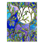 Leaves and Moon - Blue Watercolors Postcard