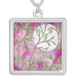 Leaves and Moon - Pink Watercolors Jewelry