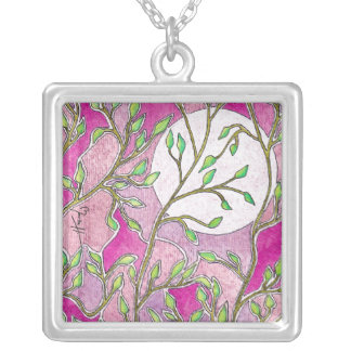 Leaves and Moon - Pink Watercolors Square Pendant Necklace