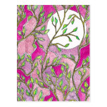 Leaves and Moon - Pink Watercolors Post Card