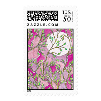Leaves and Moon - Pink Watercolors Postage