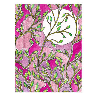 Leaves and Moon - Pink Watercolors Postcard