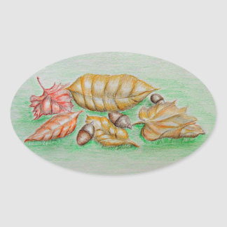 leaves and nut oval sticker