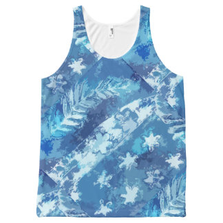 Leaves and Stars Blue Gel Print All-Over-Print Tank Top