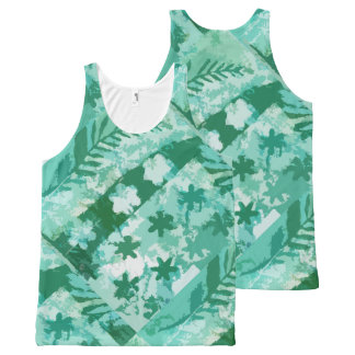 Leaves and Stars Green Gel Print All-Over-Print Tank Top