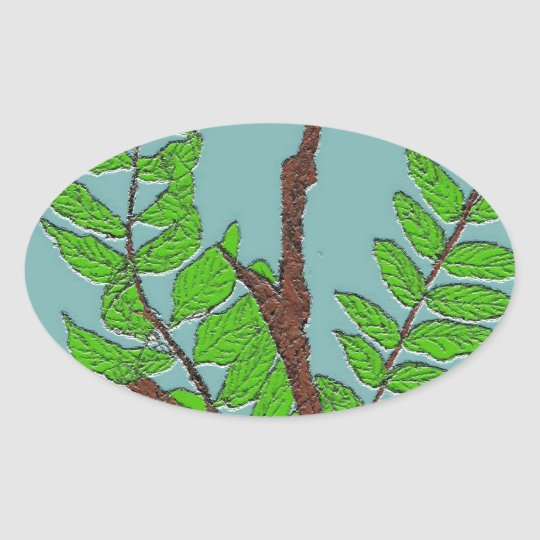 Leaves and Twigs Oval Sticker