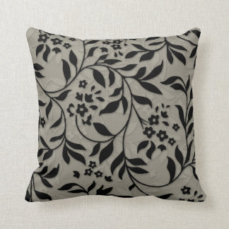Leaves and vines on Taupe Throw Pillow