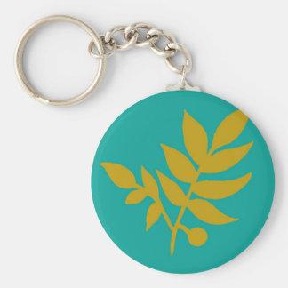 Leaves Basic Round Button Keychain