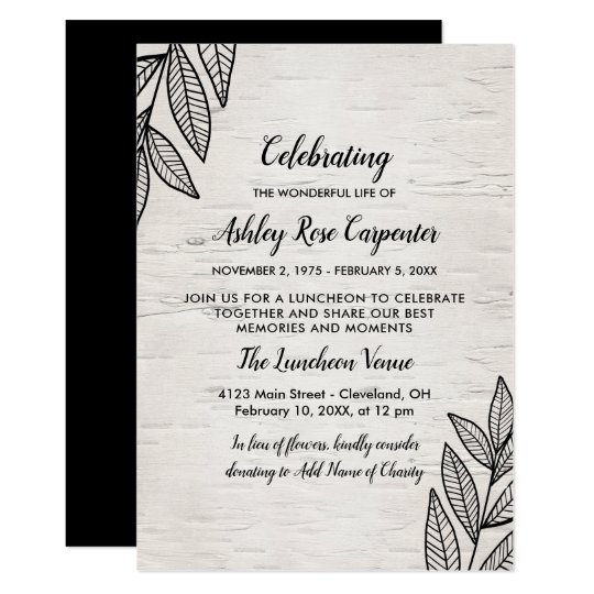 leaves birch celebration of life memorial invitation zazzle com