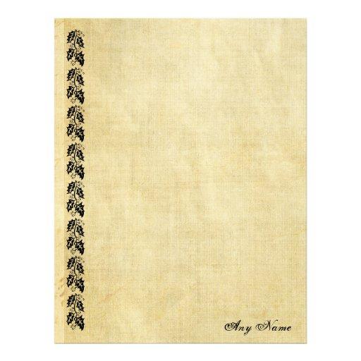 Leaves border vintage personalized paper letterhead zazzle