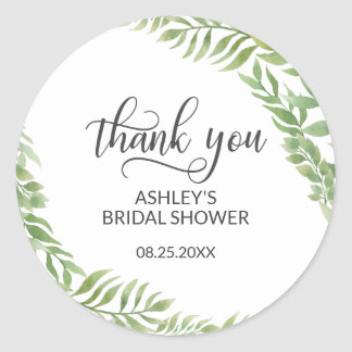 Leaves Botanical Wreath Bridal Shower Thank You Classic Round Sticker