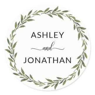 Leaves Botanical Wreath Wedding White Labels Seals