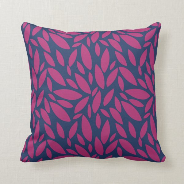 Leaves cascading over dark blue background throw pillow