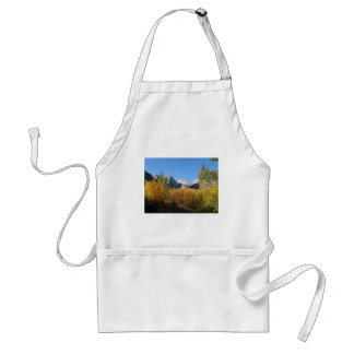 leaves changing with snowy mountains adult apron