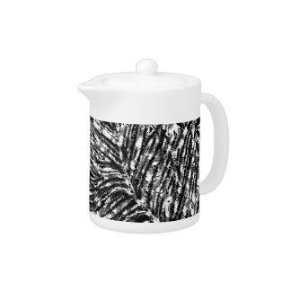 Leaves Design Black & White Teapot