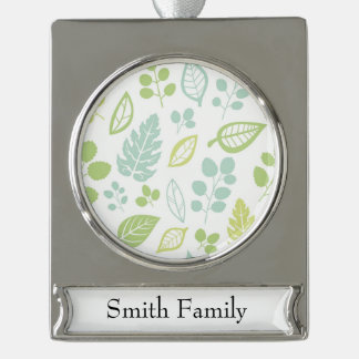 Leaves Design in Blue & Green Silver Plated Banner Ornament
