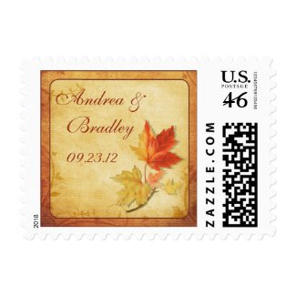 Leaves Fall Wedding Postage stamp