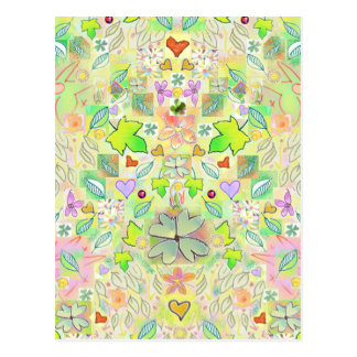 Leaves, Flowers, Hearts, Lucky Clovers Postcard