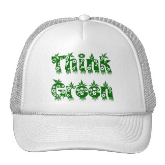 "Leaves & Flowers ""Think Green"" Cap Trucker Hat"