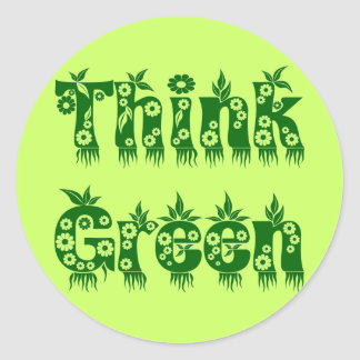 """Leaves & Flowers """"Think Green"""" Classic Round Sticker"""
