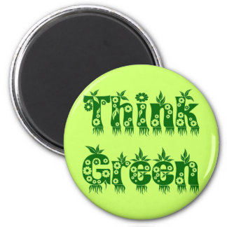 """Leaves & Flowers """"Think Green"""" Magnet"""