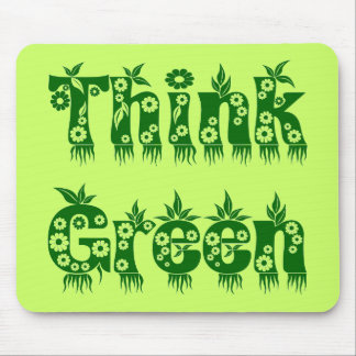 """Leaves & Flowers """"Think Green"""" Mousepad"""
