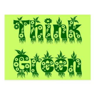 "Leaves & Flowers ""Think Green"" Postcard"