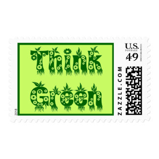 """Leaves & Flowers """"Think Green"""" Stamp"""
