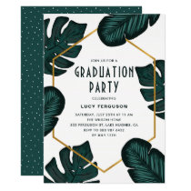 Leaves Frame Tropical Graduation Party Invitation