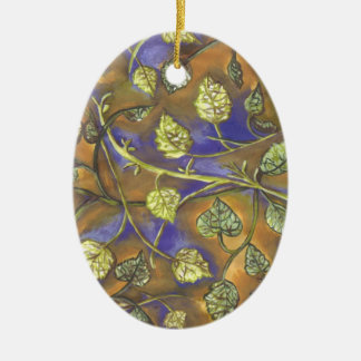 Leaves from Raspberries Oval Ornament