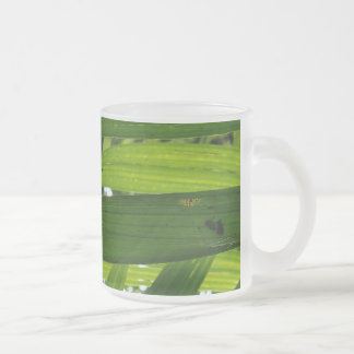 Leaves Frosted Glass Coffee Mug