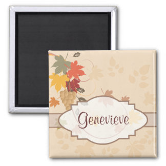 Leaves, Grapes and Ribbons - Customizable 2 Inch Square Magnet
