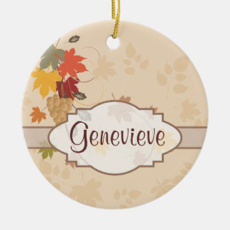 Leaves, Grapes and Ribbons - Customizable Ceramic Ornament