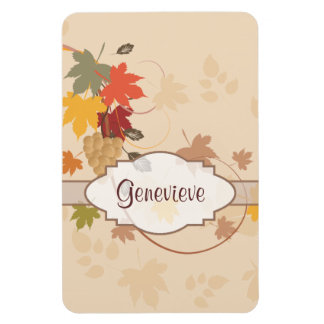 Leaves, Grapes and Ribbons - Customizable Rectangular Photo Magnet