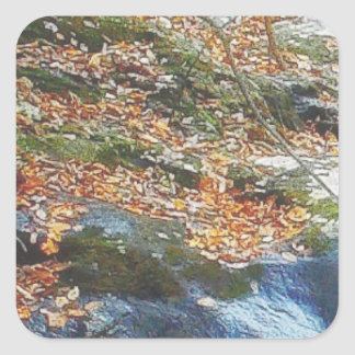 leaves, grass and stream square sticker