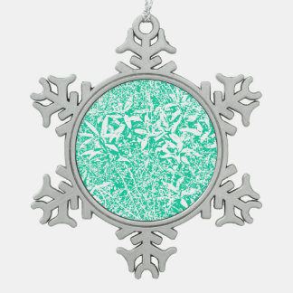 leaves (green and white) snowflake pewter christmas ornament