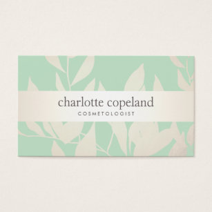 Natural hair business cards templates zazzle leaves green natural beauty cosmetologist business card colourmoves