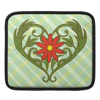 Leaves heart with red flower sleeve for iPads