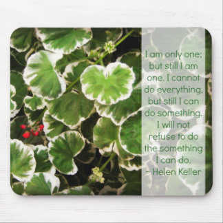 Leaves & Helen Keller Quote Mouse Pad
