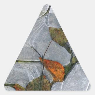 Leaves in Ice.jpg Triangle Sticker