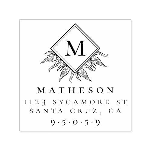 Leaves  Modern Monogram Family Return Address Self_inking Stamp
