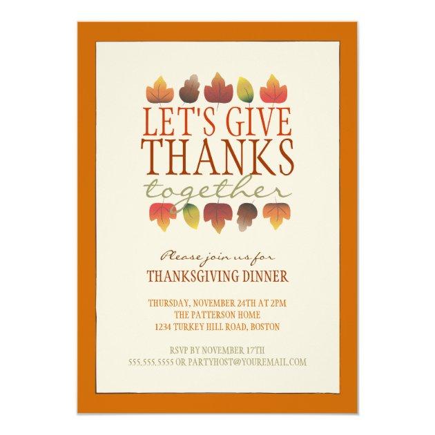 Leaves of Autumn ThanksGiving Dinner Invitation