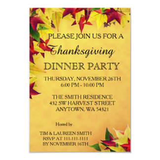 Leaves of Autumn Thanksgiving Dinner Party Card