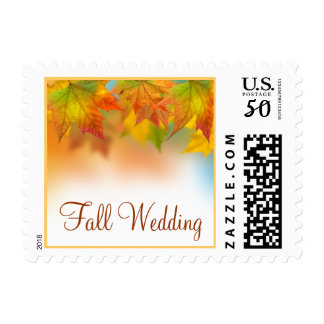 Leaves of Autumn Wedding Postage